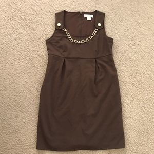 Michael Kors Brown Sleeveless Dress w/ Gold Chain